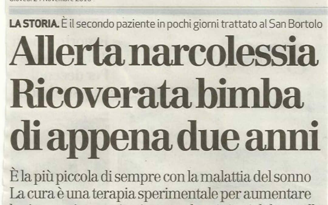 Caso di Narcolessia infantile record a Vicenza – Articolo del 23/11/2016 Giornale di Vicenza