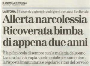 Giornale Vicenza narcolessia infantile